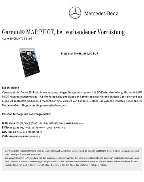 mercedes benz navigation 20 garmin map pilot sar2 europos. Black Bedroom Furniture Sets. Home Design Ideas